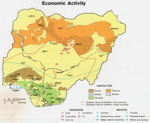Nigeria economic activity map.