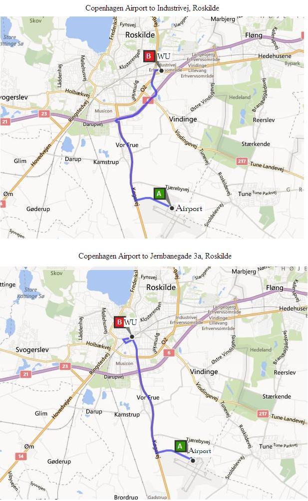 Directions from Copenhagen Airport to Western Union agents